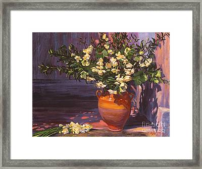 Pottery Flower Jug Framed Print by David Lloyd Glover