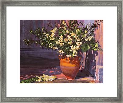 Pottery Flower Jug Framed Print by David Lloyd Glover