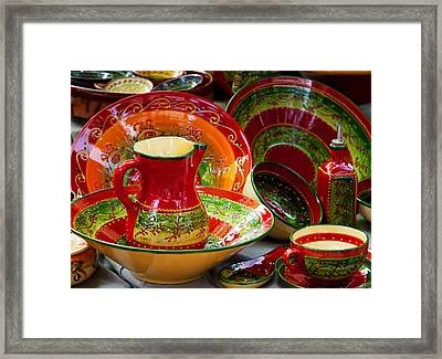 Pottery For Sale At A Market Stall Framed Print