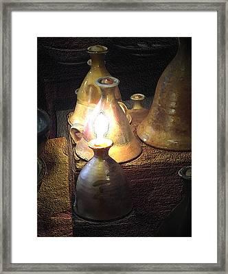 Pottery Oil Lamp  Framed Print by Joyce  Wasser