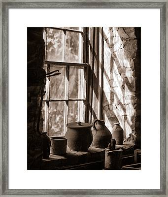 Pottery On A Stone Sill Framed Print