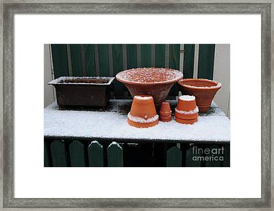 Framed Print featuring the photograph Potting Bench In Snow 11 by Vinnie Oakes