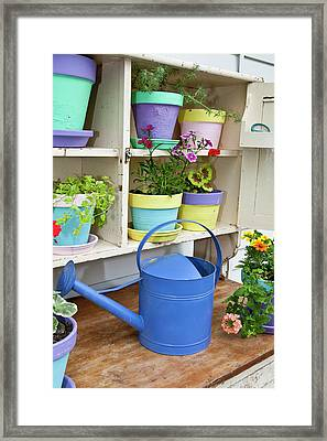 Potting Bench With Containers Framed Print by Richard and Susan Day
