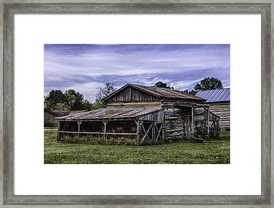 Framed Print featuring the photograph Pottsville Arkansas Historic Log Barn by Betty Denise