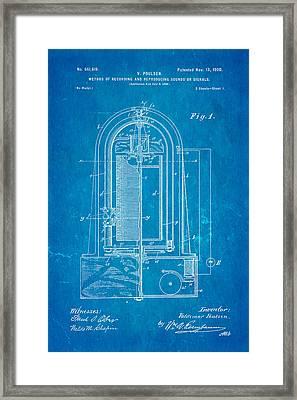 Poulsen Magnetic Tape Recorder Patent Art 1900 Blueprint Framed Print by Ian Monk