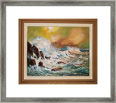 Framed Print featuring the painting Pounding Surf by Al Brown