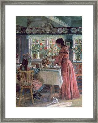 Pouring The Morning Coffee Framed Print by Laurits Regner Tuxen