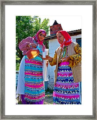Pouring Wine For Guests In Demircidere Koyu In Kozak-turkey Framed Print by Ruth Hager