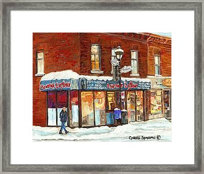 Poutine Lafleur Rue Wellington Verdun Art Montreal Paintings Cold Winter Walk City Shops Cspandau   Framed Print by Carole Spandau