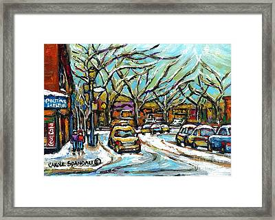 Poutine Lafleur Verdun Winter City Scenes Montreal Art Urban Snowscene Best Canadian Paintings  Framed Print by Carole Spandau