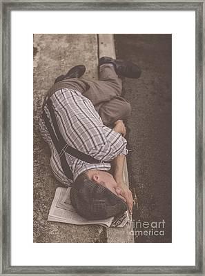 Poverty Stricken Newspaper Boy Framed Print by Jorgo Photography - Wall Art Gallery