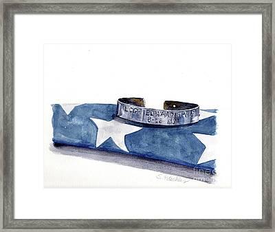 P.o.w. Bracelet With Flag Framed Print