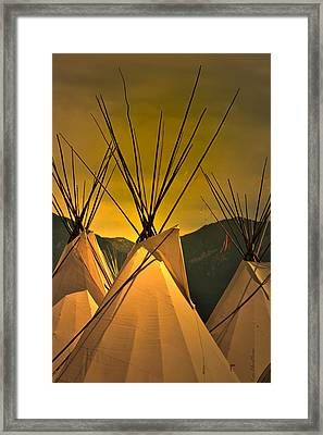 Pow Wow Camp At Sunrise Framed Print by Kae Cheatham
