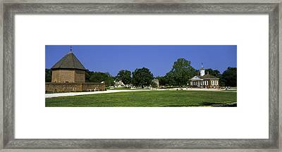 Powder Magazine And Courthouse Framed Print