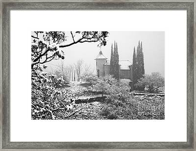 Powderbox Church With Snow In Jerome Arizona Framed Print