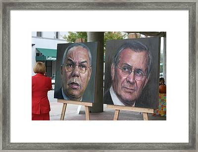 Powell And Rumsfeld In Little Rock Framed Print