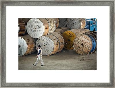 Power Cables At A Solar Power Plant Framed Print