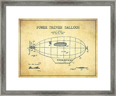 Power Driven Balloon Patent-vintage Framed Print