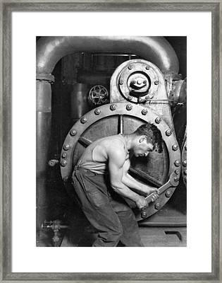 Power House Mechanic Working On Steam Pump Framed Print by Lewis Hine