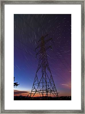 Power Line And Star Trails Framed Print