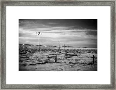 Power Line Horizon Framed Print by Paul Bartoszek