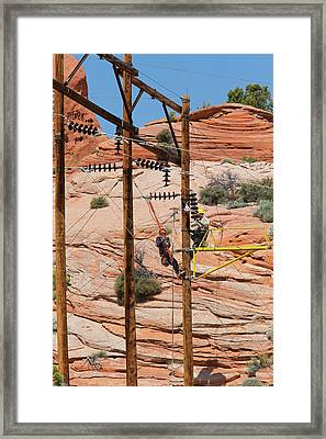 Power Line Maintenance Framed Print by Jim West