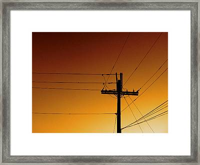Power Line Sunset Framed Print