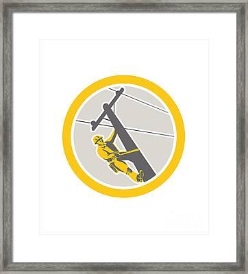 Power Lineman Repairman Climbing Pole Circle Framed Print by Aloysius Patrimonio