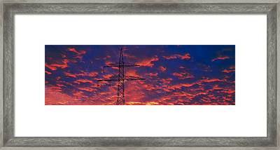 Power Lines At Sunset Germany Framed Print