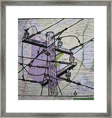 Power Lines On Map Framed Print by William Cauthern