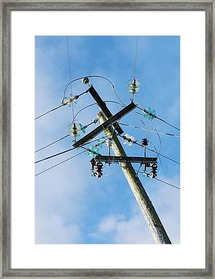 Power Lines With Glass Insulators Framed Print by Cordelia Molloy
