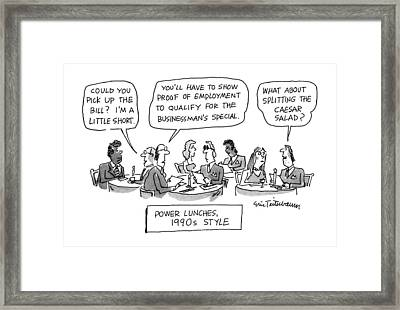Power Lunches 1990's Style Framed Print by Eric Teitelbaum