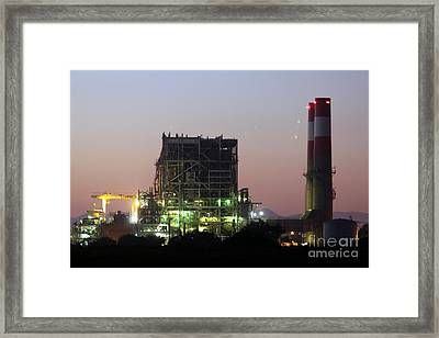 Power Station Lights Framed Print by Henrik Lehnerer