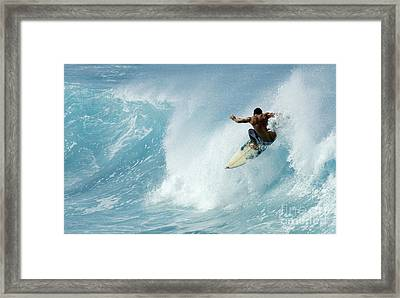 Surfing Power Struggle Framed Print by Bob Christopher