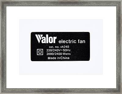 Power Supply Label Framed Print by Trevor Clifford Photography