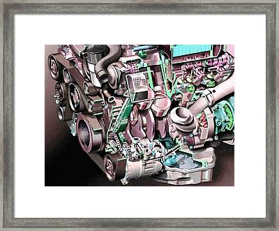 Powerful Car Engine  Framed Print