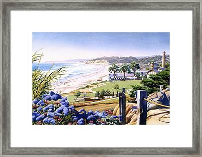 Powerhouse Beach Del Mar Blue Framed Print by Mary Helmreich