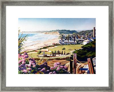 Powerhouse Beach Del Mar Lilac Framed Print by Mary Helmreich