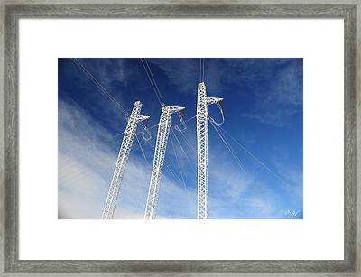 Powerlines On The Mountain Framed Print by Aaron Spong