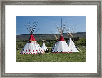 Powwow Teepees Of The Blackfoot Tribe By Glacier National Park No. 3100 Framed Print