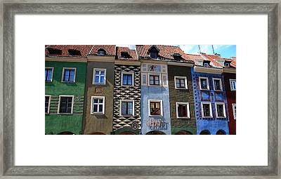 Poznan Town Houses Framed Print by Jacqueline M Lewis