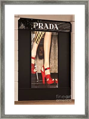 Prada Red Shoes Framed Print