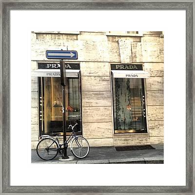 #prada #store In #milan #viasantandrea Framed Print
