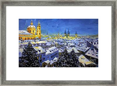 Prague After Snow Fall Framed Print