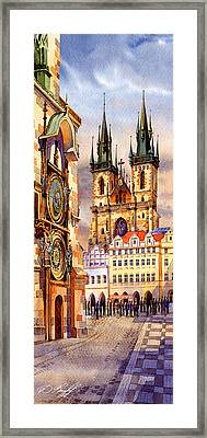 Prague Afternoon Astronomic Clock And Church Framed Print by Dmitry Koptevskiy