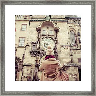 Prague Astronomical Clock Framed Print by Daniel Kocian