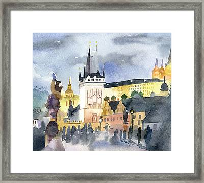 Prague At Night Framed Print