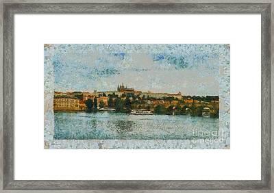 Prague Castle Over The River Framed Print by Dana Hermanova