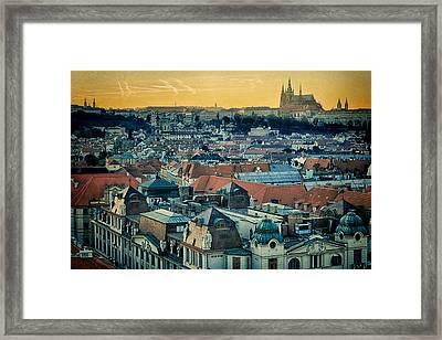 Prague Castle Sunset Framed Print by Joan Carroll