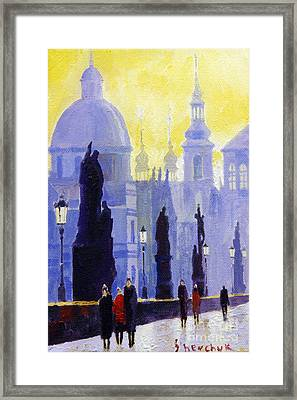 Prague Charles Bridge 03 Framed Print by Yuriy  Shevchuk